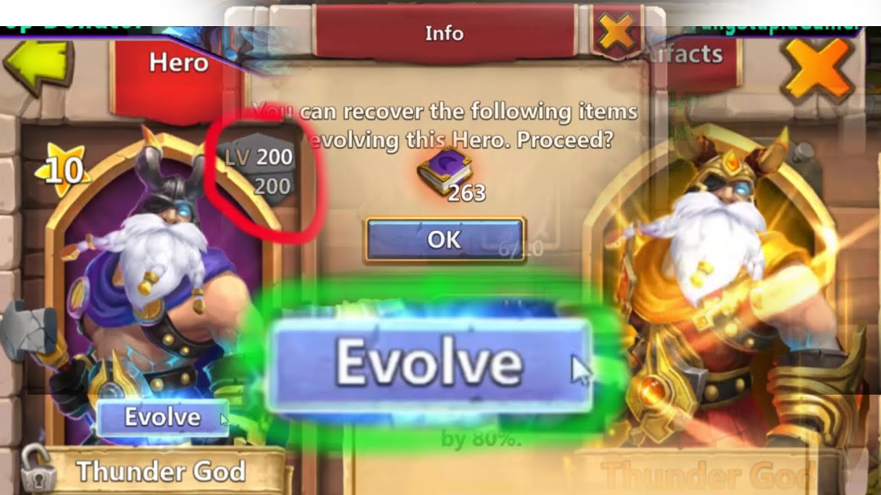 Castle Clash Evolving Level 200 Thunder God!!!