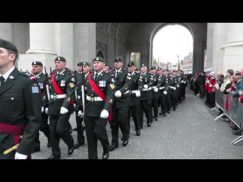 PPCLI under the Menin Gate in Ypres, Belgium May 8, 2015