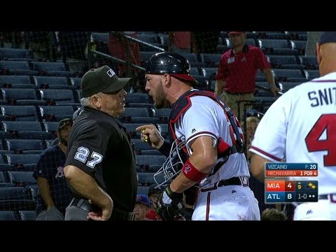 MIA@ATL: Flowers shows displeasure and is tossed