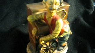 Ceramic Music Box Of Music Box Man With Monkey