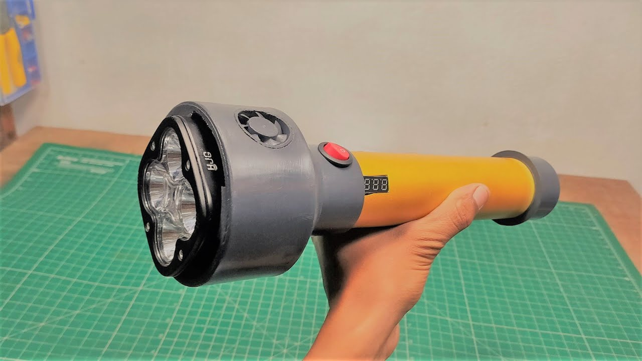 How to make Powerful Rechargeable Emergency LED Torch Light   DIY LED Torch Light at Home