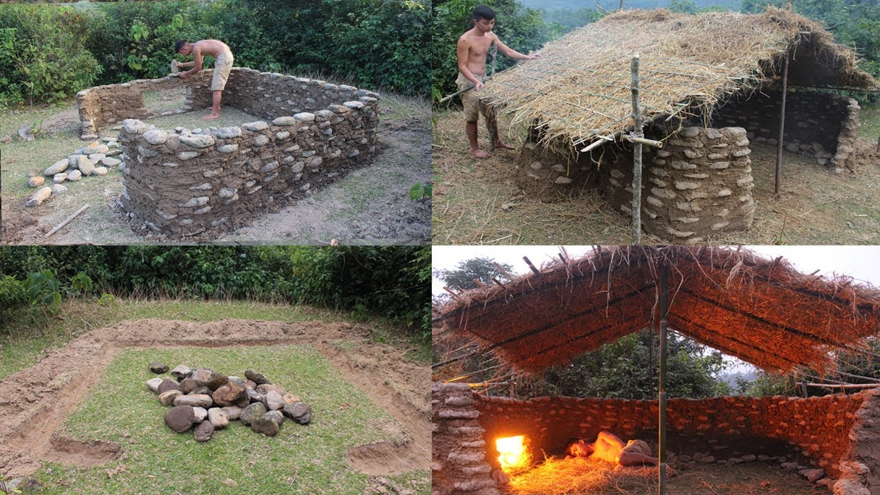 Primitive technology build a stone house full video - Designing and building your own home ...
