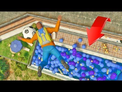 ¿Se puede sobrevivir a una caída en 100+ pelotas? - GTA V (Grand Theft Auto 5)