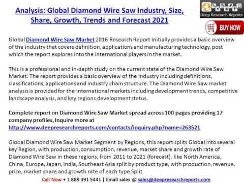 Market Prize: Global Diamond Wire Saw Industry 2016 Market Research Report