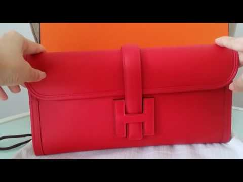 Shopping in Paris! HERMES Jige clutch bag review   swift Vermillon bag collection 1 of 3 bags