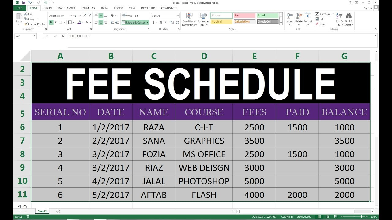 how to make a schedule excel