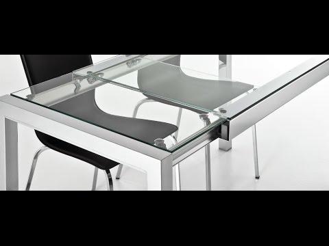 Mesa cocina bibi pata extensible de ondarreta cristal y for Mesas de cocina de cristal
