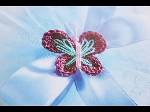 Tutorial Bomboniere Farfalla Uncinetto Crochet 13 Youtube