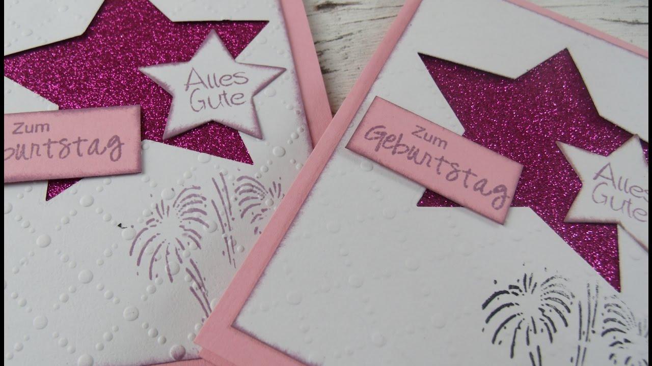 Lieblings Geburtstagskarte mit Glitzerkarton pink selber basteln DIY @VA_77