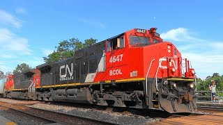 CSX Train Being Led By BC Rail Engine In New CN Paint