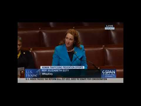 U.S. Rep. Elizabeth Esty speaks on the House floor on her bipartisan legislation to address human trafficking.