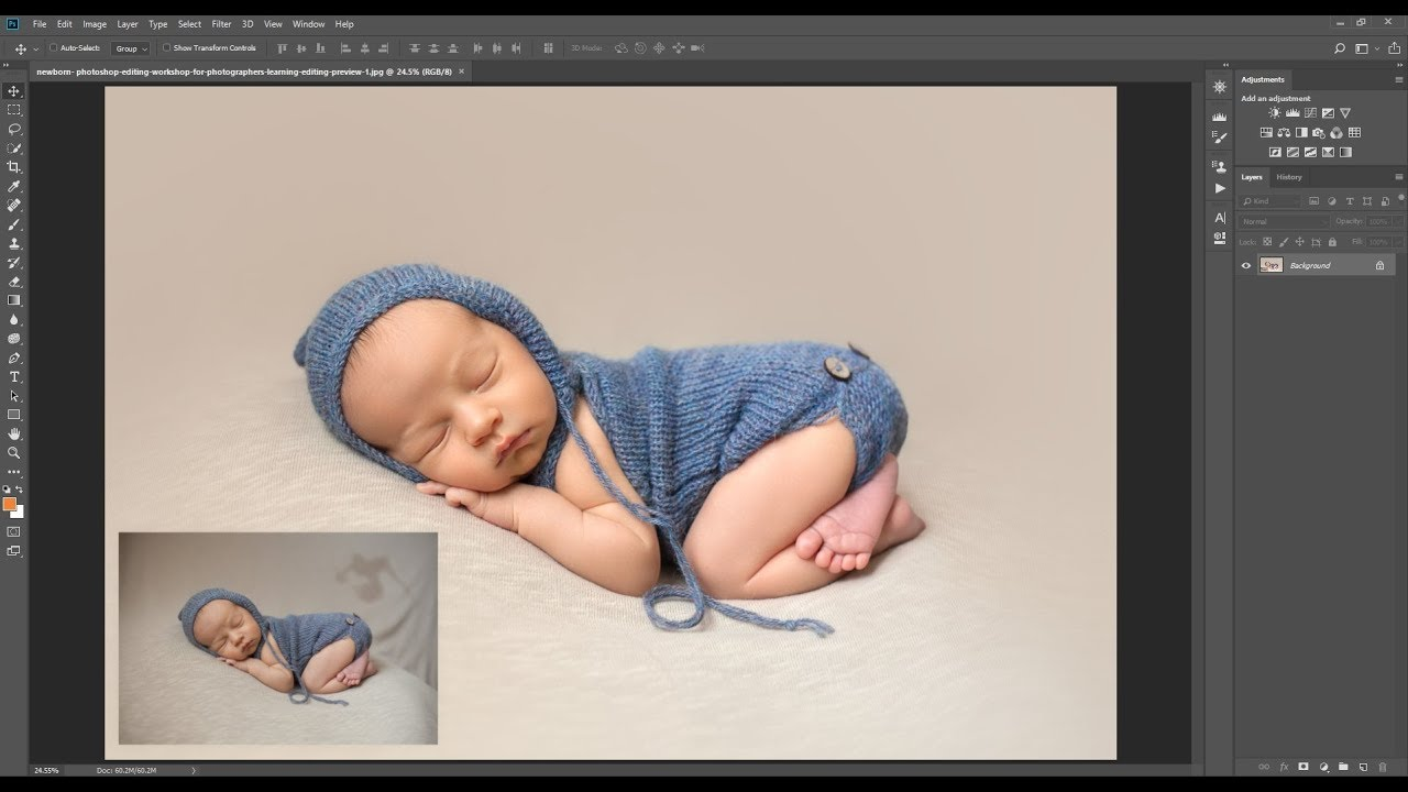 Studio newborn hand editing lightroom and photoshop editing workshop preview
