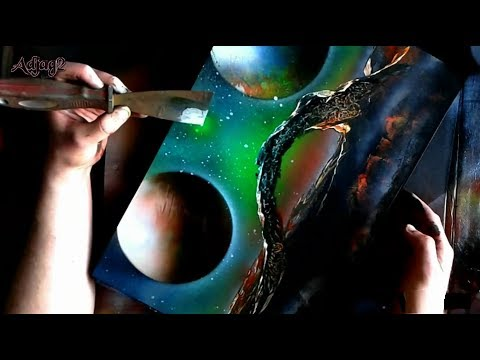 spray paint art 5 space art youtube. Black Bedroom Furniture Sets. Home Design Ideas