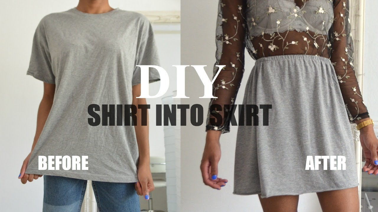 Diy Clothing Hack How To Transform A T Shirt Into A Skirt
