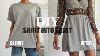DIY CLOTHING HACK | How To Transform A T-shirt Into a Skirt