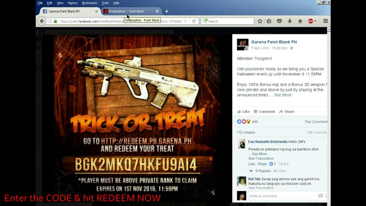 How to REDEEM CODE to get free AUG A3 3D Weapon POINTBLANK ...
