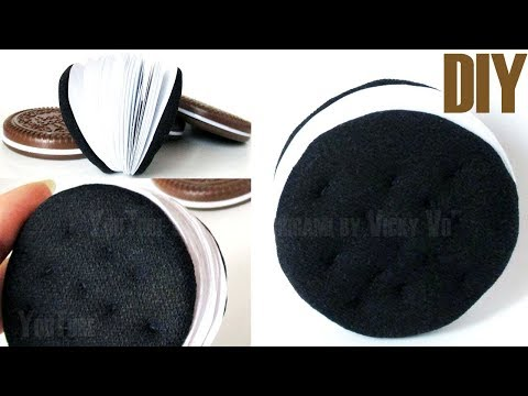 DIY Notebook Oreo Soft. How to Make a paper round chocolate sandwich cookies mini notebook