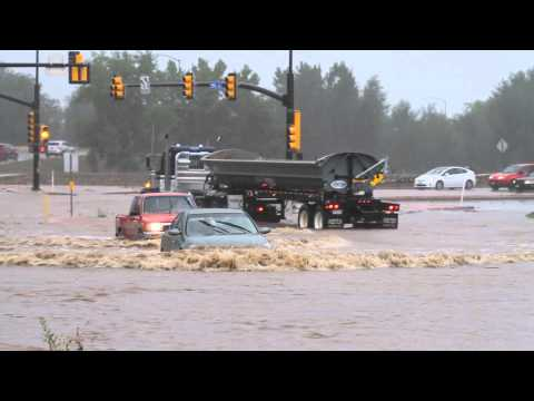 Boulder, Co Floods, Car almost completely submerged by flood waters
