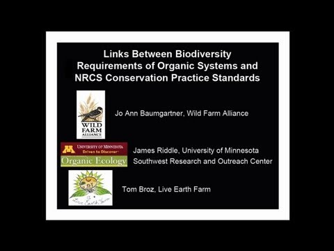 Links between Biodiversity Requirements of Organic Systems and NRCS Practice Standards
