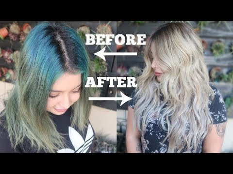 Blue To Ashy Blonde Hair Color Transformation