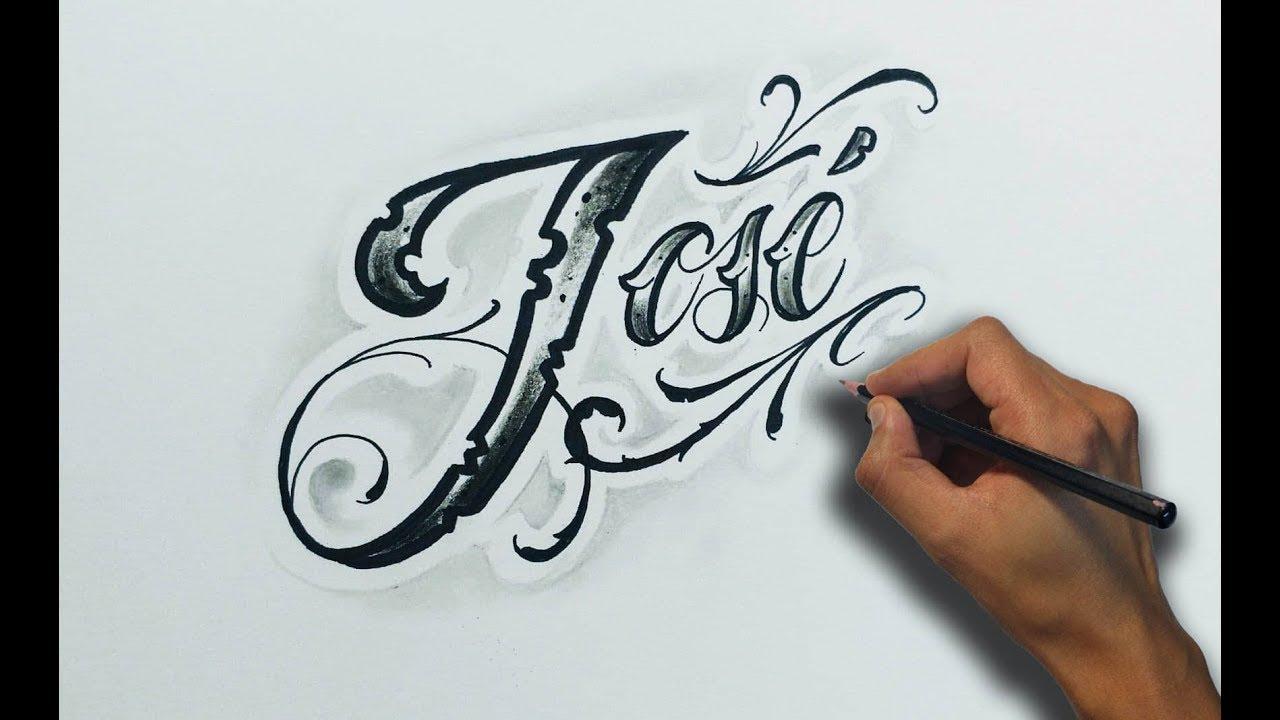 Dibujando Letras Chicanas José Lettering Tattoo Time Lapse