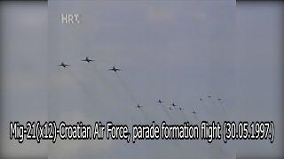 Mig-21(x12)-Croatian Air Force, parade formation flight (30.05.1997.)