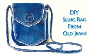 Sling Bag from old jeans|Sling bag making at home|Recycle old jeans into a Sling Bag|DIY craft ideas