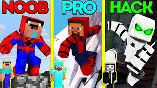 Minecraft Battle: NOOB vs PRO vs HACKER: SPIDERMAN TURNING CHALLENGE  Animation