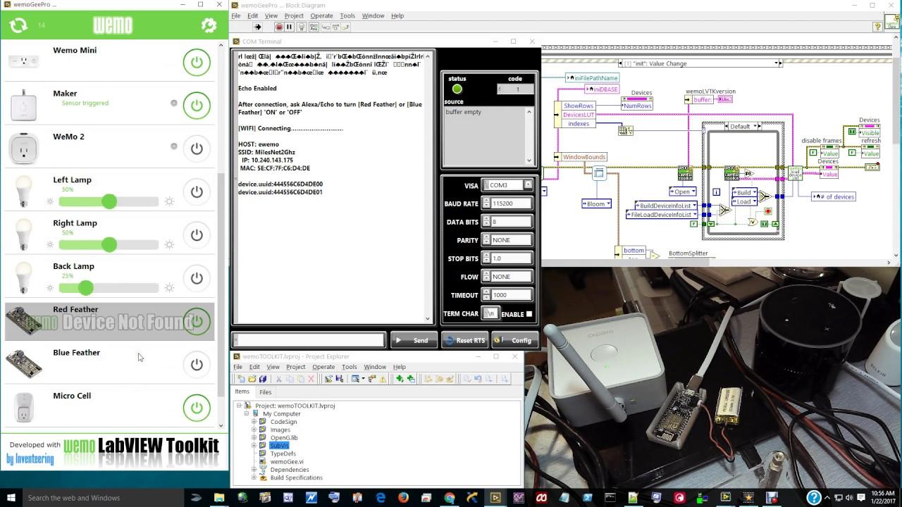 Wemo LabVIEW Toolkit Demo with ESP8266 WIFI board Wemo emulator