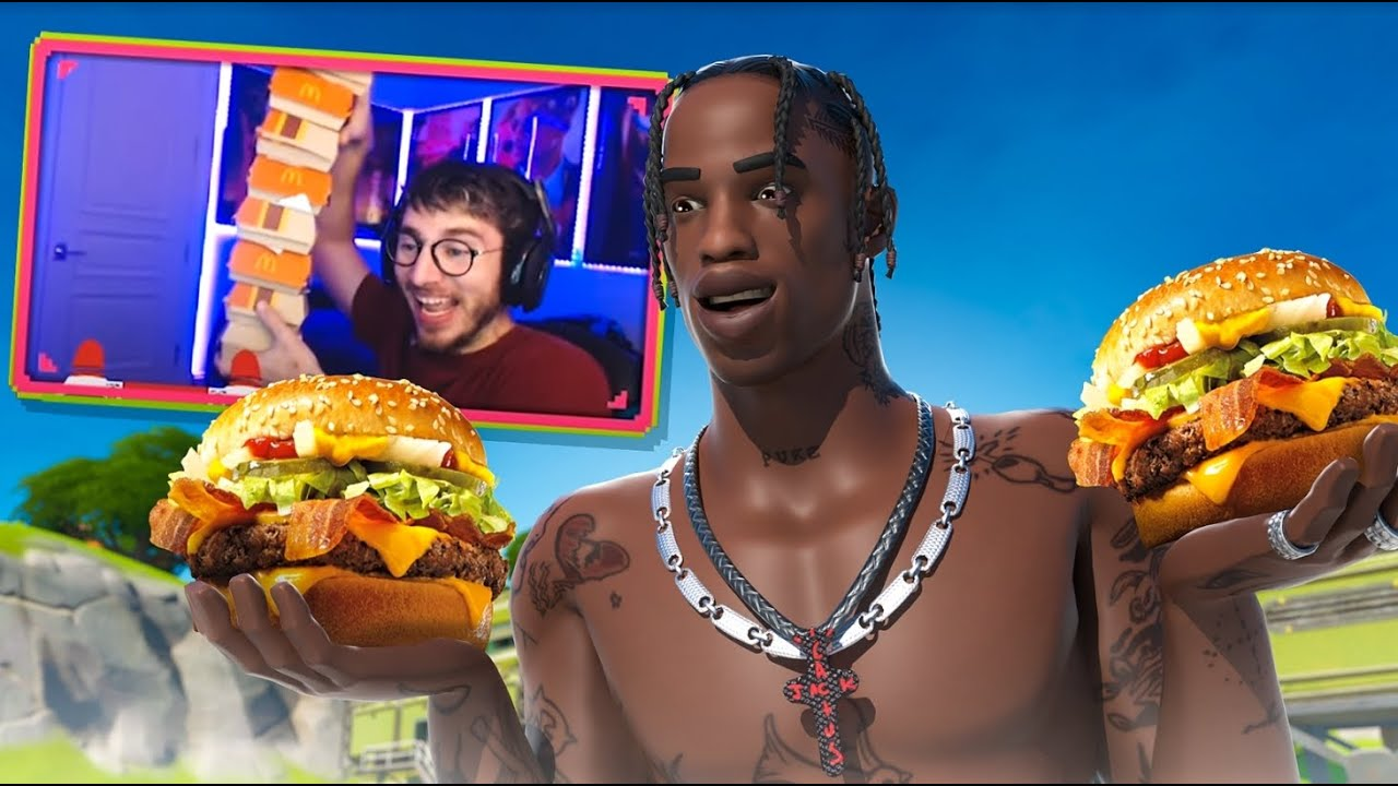 Every Death I Eat A Travis Scott Burger In Fortnite Youtube This item was added by staff as a parody of the travis scott burger at mcdonalds. every death i eat a travis scott burger in fortnite