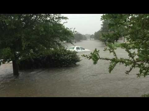 Granbury Flood 5-31-16 Car Swept Away