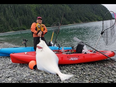 127lbs Halibut Off A Hobie Outback Kayak - Seward, AK