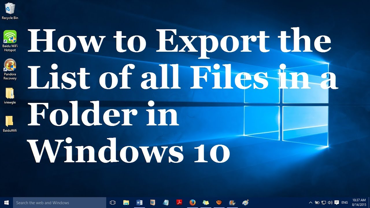 How to copy the list/name of all files in a folder in Windows 10