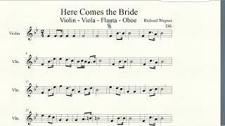 Here Comes the Bride   Estudio para estudio   Violin   Viola   Flauta   Oboe