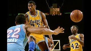 【NBA】 【マジック・ジョンソン】  誰にも絶対に真似できない死角を突くアシスト集 【パスの変態】