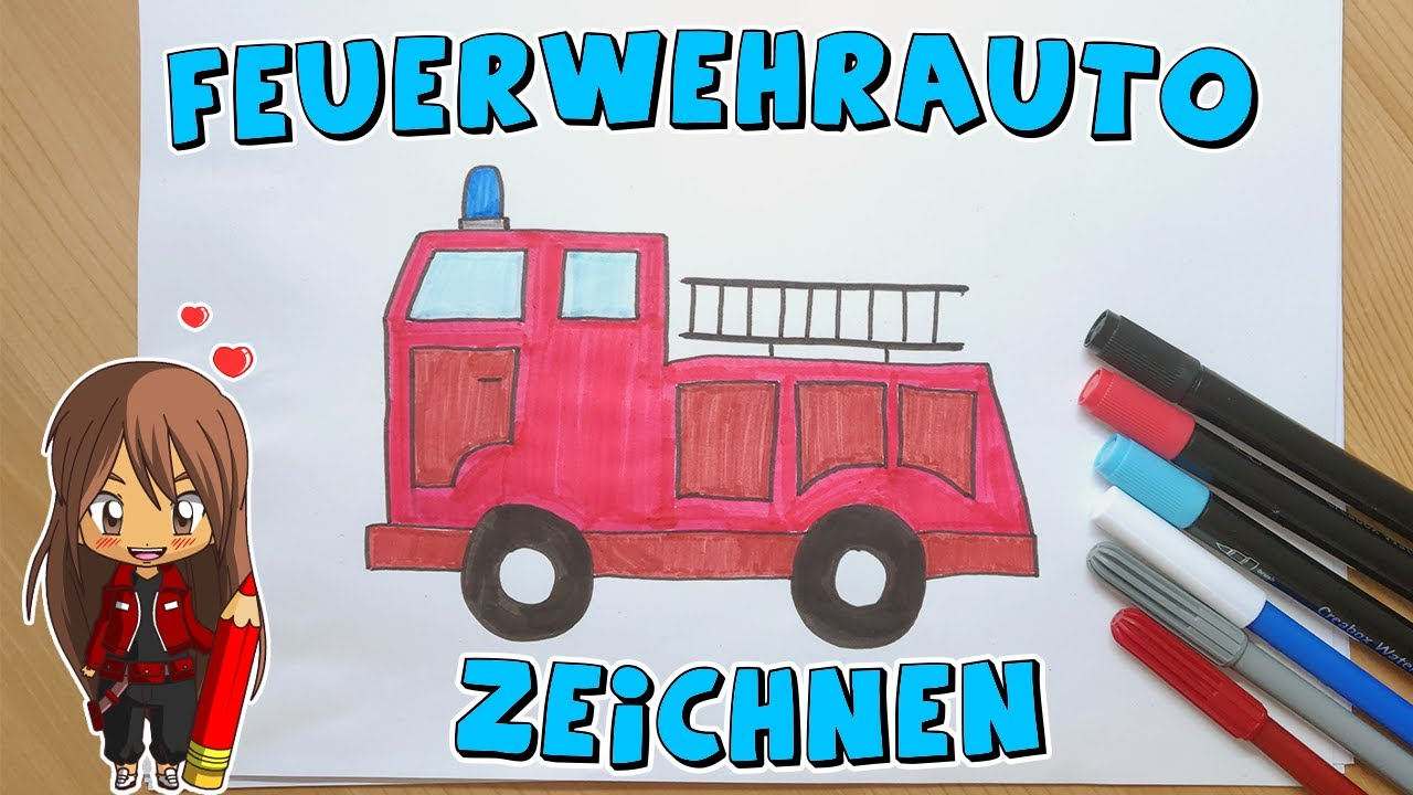 feuerwehrauto einfach malen für kinder  ab 5 jahren