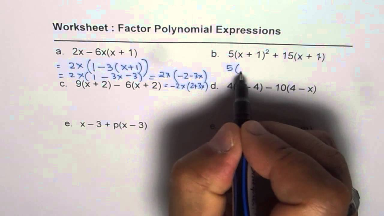 worksheet Polynomial Expressions Worksheet worksheet 2 factor polynomial expressions youtube expressions