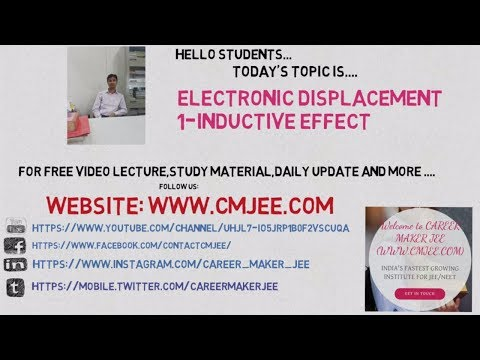 JEE Chemistry Electronic Displacement-1-inductive effect || jee pmt chemistry