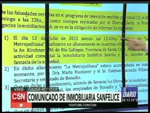 C5N -  Causa Hotesur: Comunicado de inmobiliaria Sanfelice