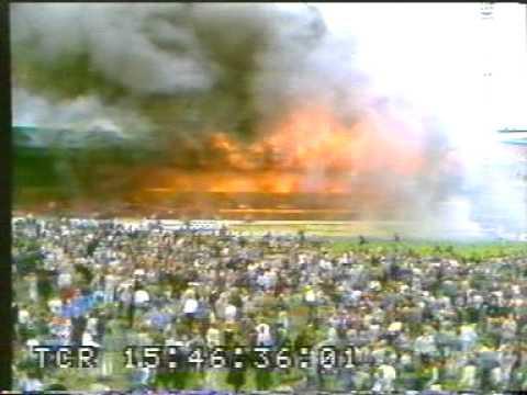 fire in soccer stadium - Great Britain.