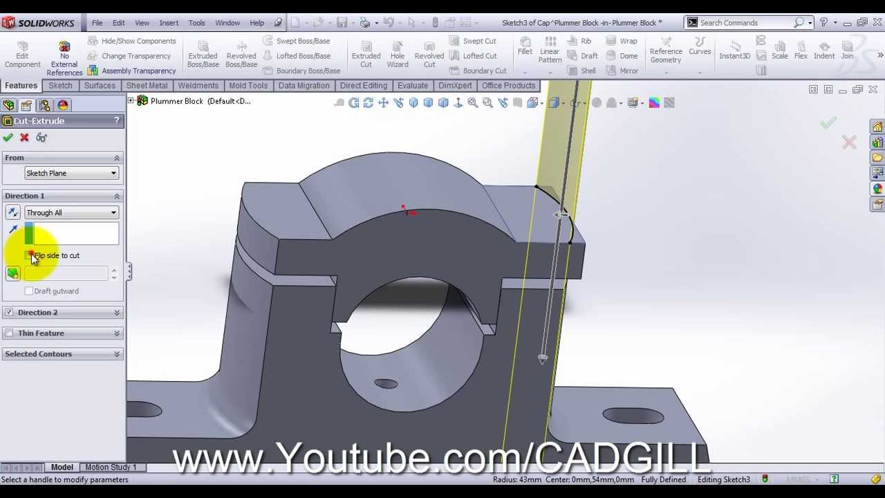 Plummer Block Video Tutorial SolidWorks Part 02 - Cap