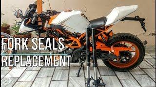 🔧Fork seals & Handle Bearings replacement on KTM Duke/RC 200/390 motorcycle