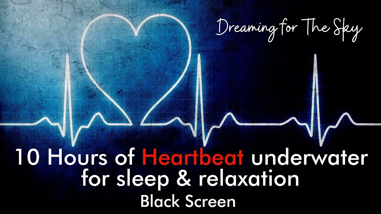 Heartbeat sound under water ambiance | 10 hours of black screen sleep ambience