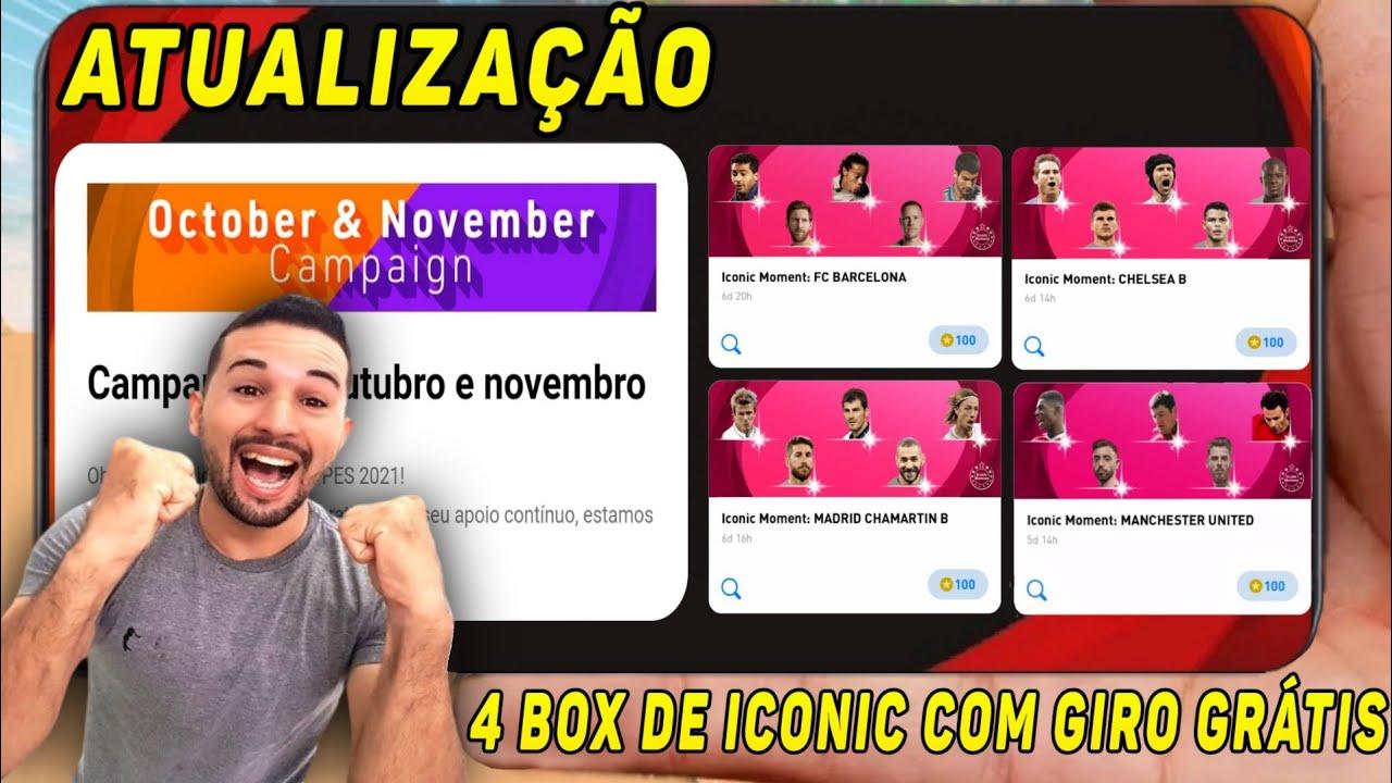 Download ATUALIZAÇÃO,4 BOX DE ICONIC MOMENTS COM GIRO GRÁTIS E NOVA BOX DE LEGENDS POR GP NO PES 2021 MOBILE