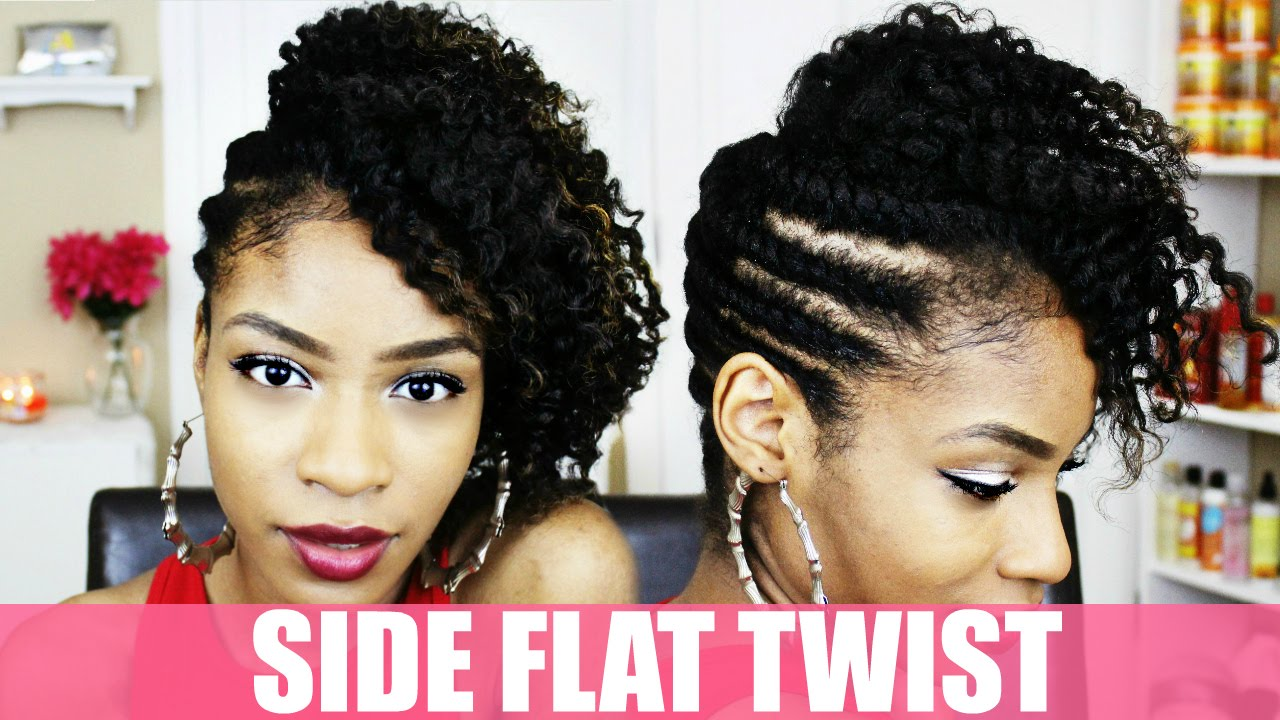 Side Flat Twist Hairstyle On Natural Hair Youtube
