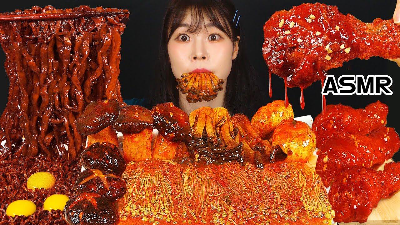 ASMR MUKBANG| 직접 만든 버섯 양념치킨 먹방 & 짜짜로니 & 레시피 BLACK BEAN NOODLES AND FRIED CHICKEN EATING