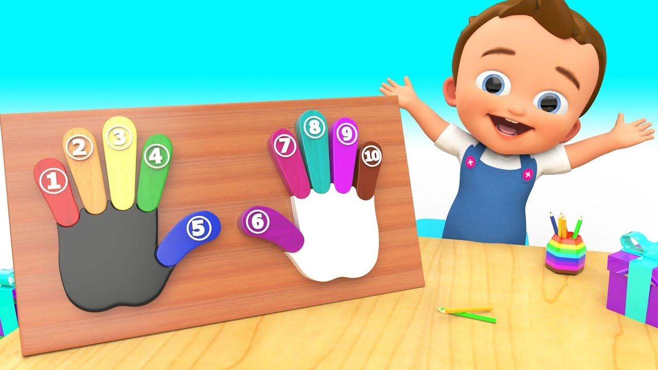baby fun learning numbers colors with wooden hand fingers toyset