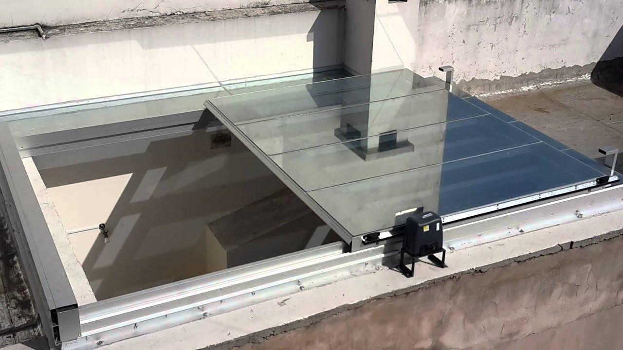 Claraboya movil con motor y control remoto youtube - Claraboyas para techos ...
