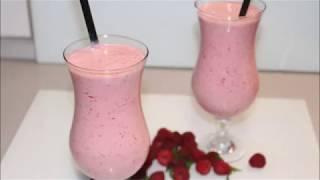 Frambuazli Milchshake nasil yapilir tarifi, Himbeer Milchshake, dondurmali meyveli icecek Smoothie