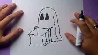 Como dibujar un fantasma paso a paso 6   How to draw a ghost 6
